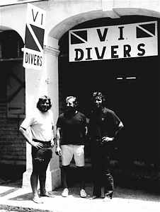 Bret Gilliam, Dick Bonin, and Bill Walker outside Gilliam's St. Croix dive center, circa 1974