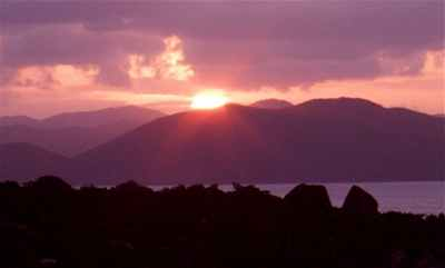 Sunset view from Virgin Gorda looking to western islands