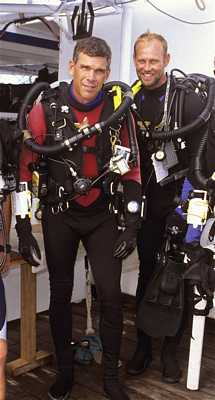 Howard Hall and Bob Cranston aboard Sea Hunter ready for dive with rebreathers