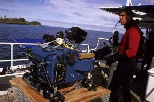 Howard Hall with IMAX camera in underwater housing