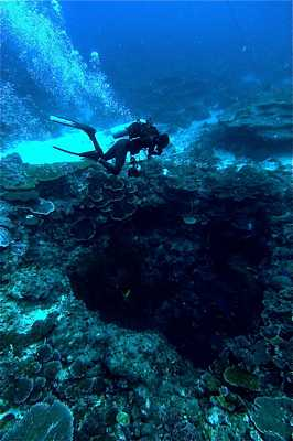 Diver in strong current