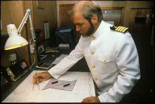 Capt. Bret Gilliam aboard 550-ft. cruise ship Ocean Spirit in 1989