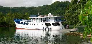 Bilikiki, a 130-ft. liveaboard diving vessel, anchored in the Solomon Islands 2011