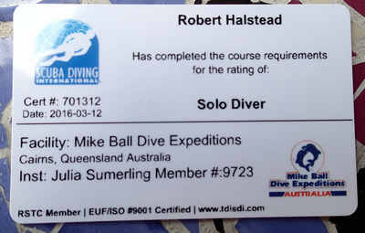 Finally, after 45 years - my own Solo Diver certification card