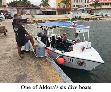 One of Aldora's six dive boats