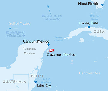 Map of Cozumel, Mexico