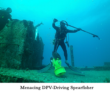 Menacing DPV-Driving Spearfisher