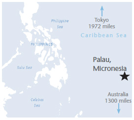 Map of  Palau, Micronesia