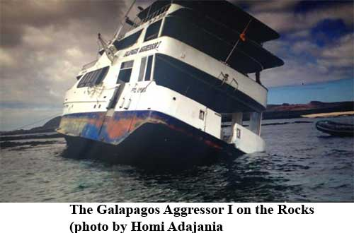 The Galapagos Aggressor I on the Rocks