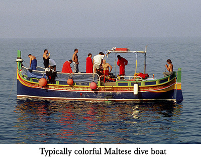 Typically colorful Maltese dive boat