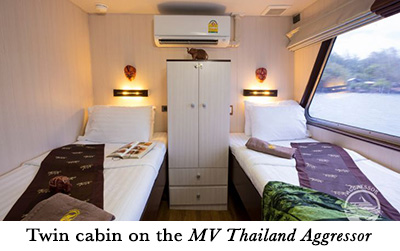 Twin cabin on the MV Thailand Aggressor