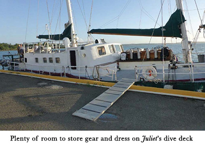 Plenty of room to store gear and dress on Juliet's dive deck