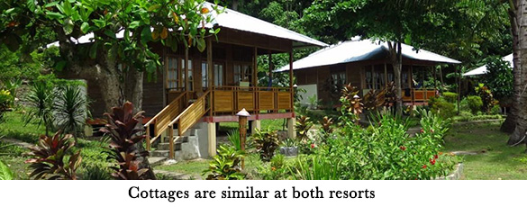 Cottages are similar at both resorts